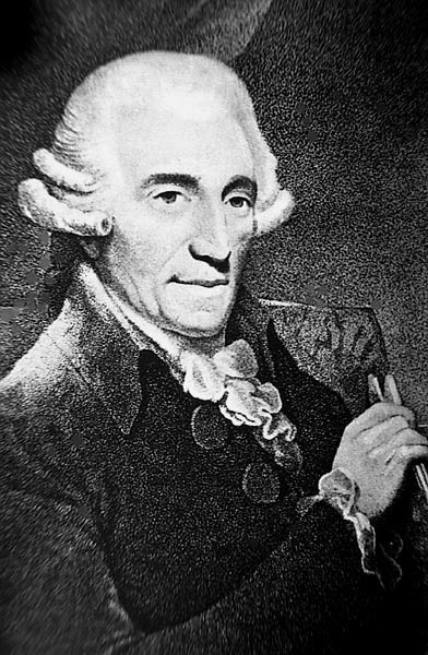 black and white portrait of Haydn in a wig