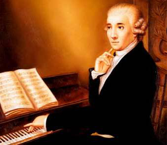 a painted of Haydn at the keyboard